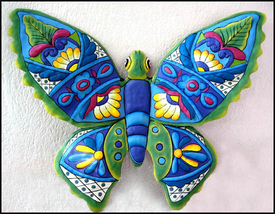 Hand painted metal decorative butterflies dragonflies for Outdoor butterfly decor