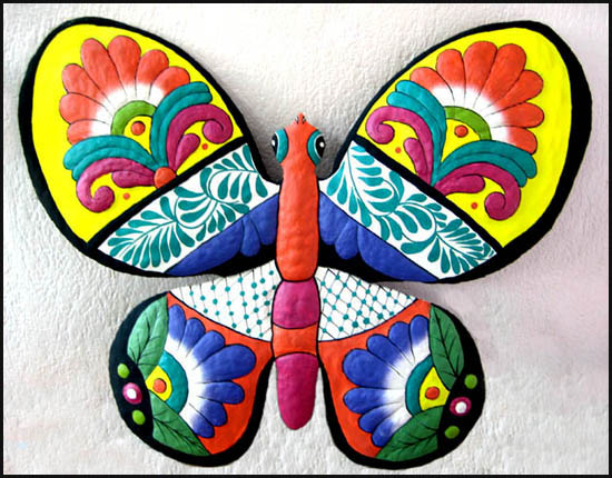 Hand Painted Butterfly Wall Decor   Metal Garden Art   Handcrafted In Haiti  From Recycled Steel