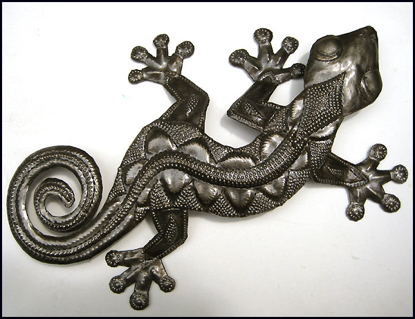 metal gecko wall hanging. Haitian recycled steel drum art.  - tropical decor