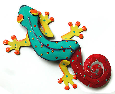 Hand painted metal gecko wall hanging tropical decor garden and patio wall art