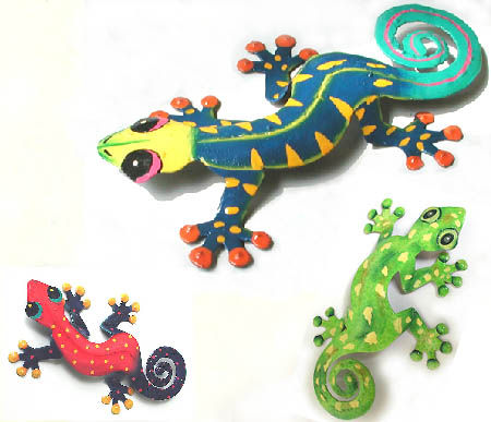 Hand painted metal gecko art wall hanging - Tropical Decor - Garden and patio wall art - Handcrafted in Haiti from recycled steel drums