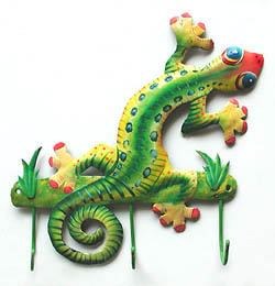 painted metal gecko wall hook -  tropical decor