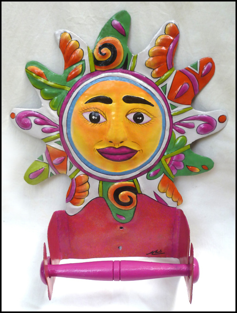 Hand painted metal tropical sun toilet paper holder - Haitian steel drum art - Bathroom Decor