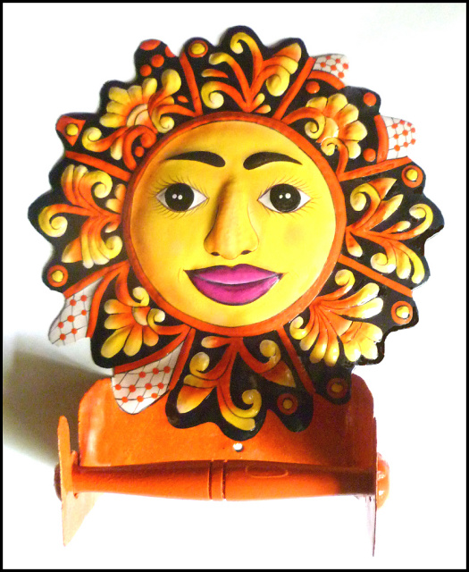Hand painted metal sun Toilet Paper Holder