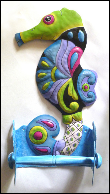 Hand painted metal seahorse toilet paper holder - bathroom decor