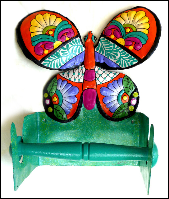 Hand painted metal tropical butterfly toilet paper holder - Haitian steel drum art - Bathroom Decor