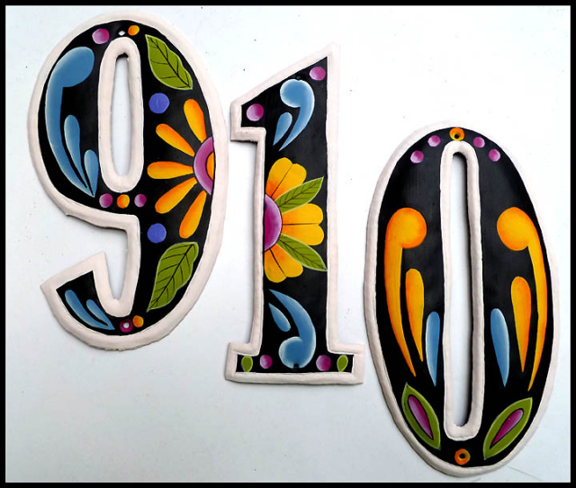 handcrafted hand painted metal house numbers outdoor decor decorative designs - Decorative House Numbers
