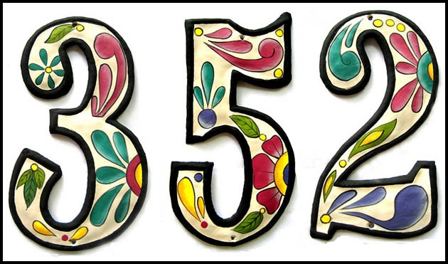 Hand painted metal house number. Address signs. Home decor.