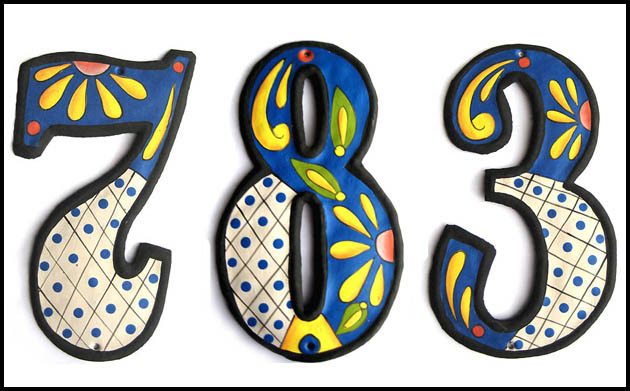 handcrafted, hand painted metal house numbers. outdoor decor