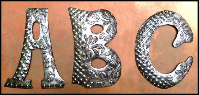 Decorative metal letter - Haitian steel drum metal art