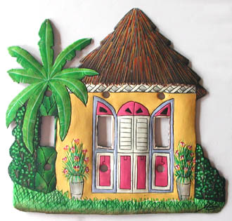 Carobbean house design switch plate cover - Hand painted metal switchplate