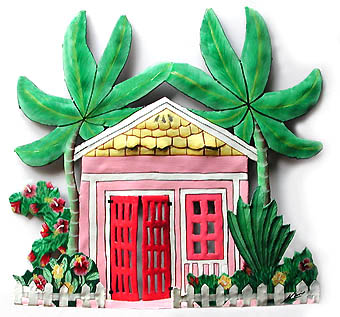 Pink Cottage Wall Hanging - Hand Painted Haitian Metal Art - Caribbean decor