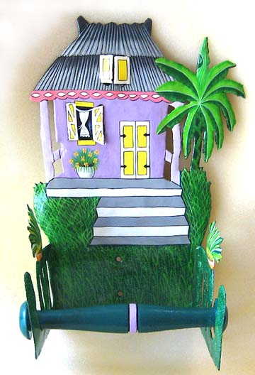 Hand painted metal Caribbean house toilet paper holder. Tropical bathroom accessory.