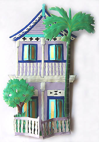 Lilac 2 Story House Wall Hanging - Hand Painted Caribbean Steel Drum Art  - Hand painted Caribbean decor. Hand cut from recycled steel drums.