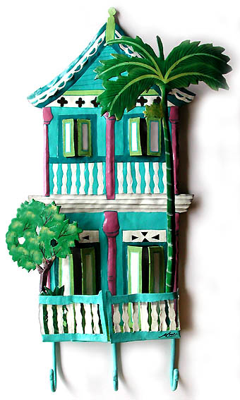 Hand Painted Metal Caribbean House Wall Decor