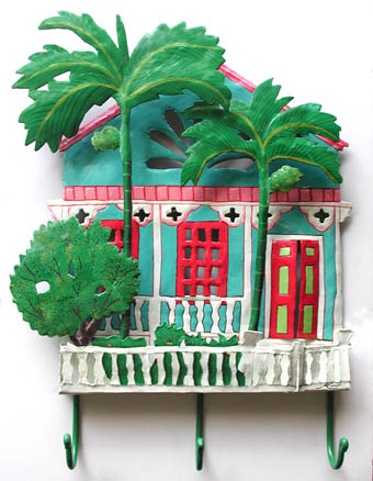 Tropical House & Palm Trees Hook - Hand Painted Caribbean Steel Drum Art - Steel drum art from Haiti