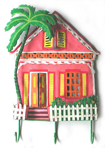 Hand painted metal Caribbean house wall hanging. Handcut from recycled steel drums in Haiti.
