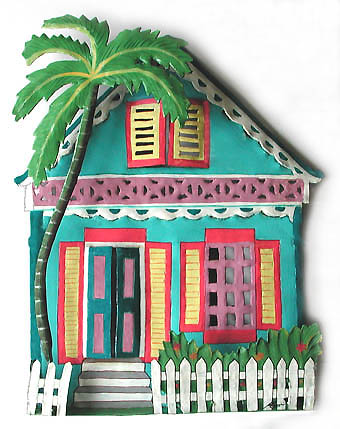 Turquoise Caribbean House Wall Hanging - Hand Painted Haitian Metal Art - Tropical decor