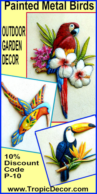Painted metal parrots - Metal wall art. Tropical Decor