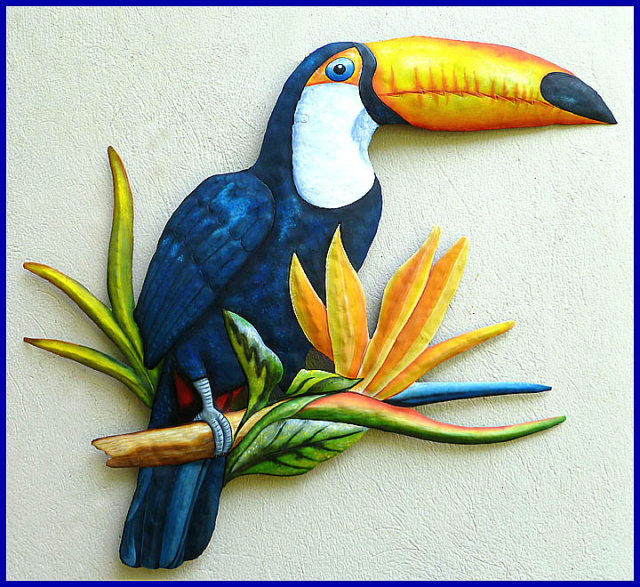 painted metal toucn parrot wall hanging