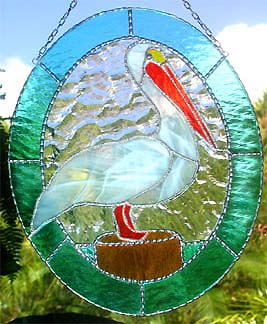 White Pelican Suncatcher - Stained Glass Design - Tropical Caribbean Decor