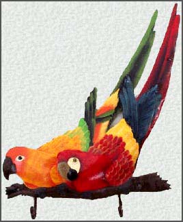 Painted Metal Parrots On A Branch Wall Hook Tropical Home Decor