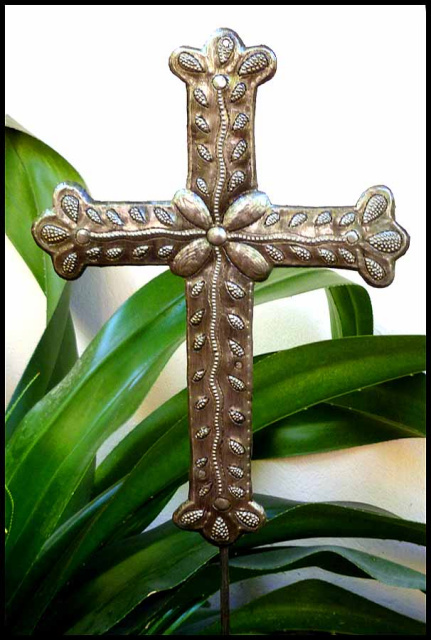 Metal cross plant stake - Garden Art - Haitian steel drum art