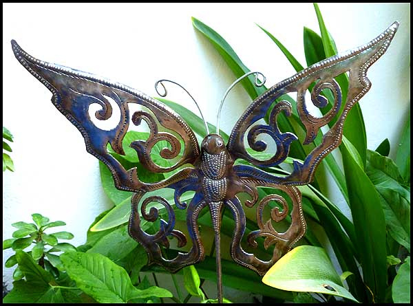 Bon Butterfly Garden Plant Stake   Metal Plant Marker   Steel Drum Art Of  Haiti.  . View Images