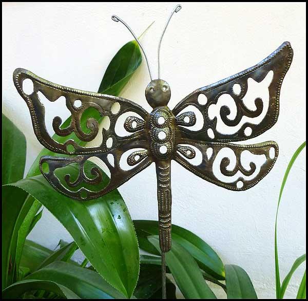 Metal Dragonfly Garden Plant Stake, Garden Decor, Outdoor Metal Art Haitian  Art   11. View Images