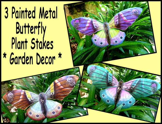 Butterflies, Painted metal garden plant sticks