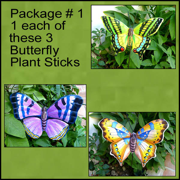 Butterfly plant sticks. Painted metal garden decor.