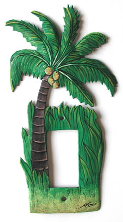 Painted Metal Coconut - Palm Tree Rocker Switchplate - Decorative tropical home design - Handcut from recycled steel drums in Haiti - Caribbean Decor