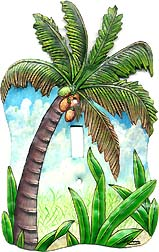 Palm Tree - Coconut Tree Switchplate Cover -- Decorative tropical home design - Handcut from recycled steel drums in Haiti - Caribbean Decor