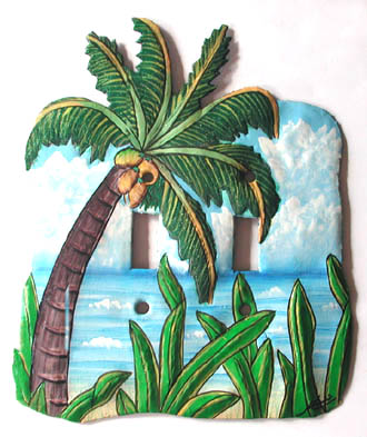 Tropical Coconut Tree Toggle Painted Metal Switchplate - Decorative tropical home design - Handcut from recycled steel drums in Haiti - Caribbean Decor