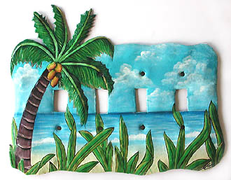 Hand Painted Coconut Palm Tree Metal Switch Plate - Decorative tropical home design - Handcut from recycled steel drums in Haiti - Caribbean Decor