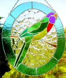 Parrot Stained Glass Suncatcher - Tropical Decor  - handcrafted - hand made suncatcher