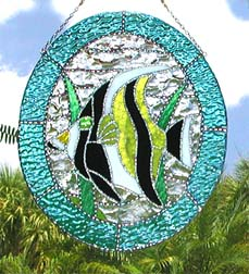 tropical fish stained glass suncatcher