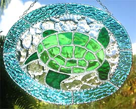 Green Sea Turtle Suncatcher - handcrafted - hand made stained glass sun catcher