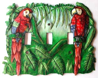 Painted Metal Parrot Toggle Switchplate  - Handpainted metal art - Recycled Steel drum art of Haiti - Tropic Decor