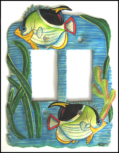 Hand Painted Metal Tropical Fish Rocker Switchplate Cover - 2 Holes