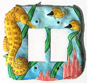 Painted Metal Seahorse Rocker Switchplate - 2 Holes