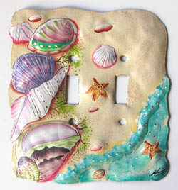 hand painted metal switch plate cover - tropical design light switchplate - Shells