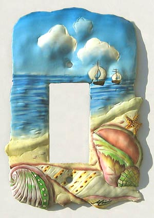 Sea Shore Rocker Switchplate - Hand Painted Metal Nautical Decor - 1 Hole - 5