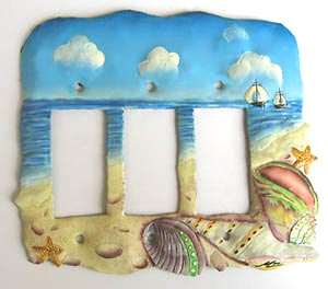 Painted Metal Shell Rocker Switchplate - 3 Holes - Hand Painted - Recycled Steel Drum Metal - 8
