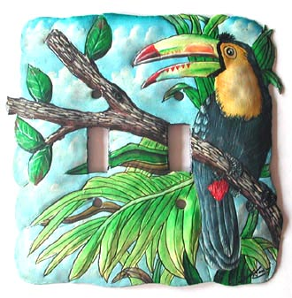 Painted Metal Toucan Switchplate Cover - Handpainted metal art - Recycled Steel drum art of Haiti - Tropic Decor