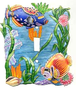 tropical fish switchplate cover - hand painted metal