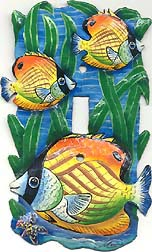 Gold Tropical Fish Metal Switch Plate Cover - Single - 5