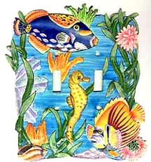 painted metal switch plate covers - Tropical fish switchplate
