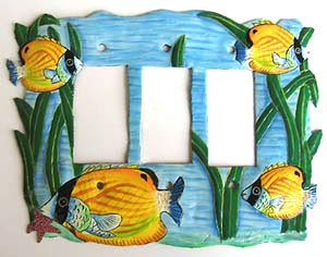 Yellow Tropical Fish Rocker Switchplate Cover - 9