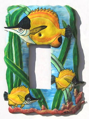 "Handcrafted Metal Tropical Fish Rocker Switchplate Cover - 5"" x 7"""